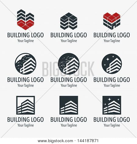 Set of building labels. Stylized icons of the building.