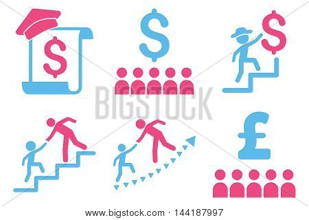 Financial Education vector icons. Pictogram style is bicolor pink and blue flat icons with rounded angles on a white background.