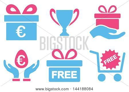 Gift vector icons. Pictogram style is bicolor pink and blue flat icons with rounded angles on a white background.