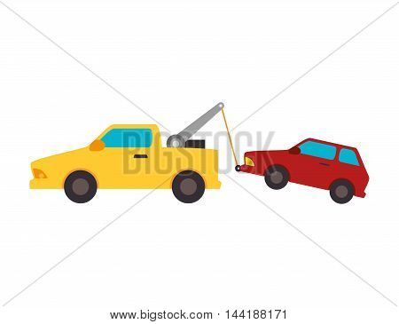 yellow car towing truck tow service vehicle vector illustration