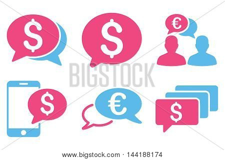 Money Message vector icons. Pictogram style is bicolor pink and blue flat icons with rounded angles on a white background.