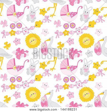Vector seamless pattern with baby girl, stroller, stork and toys