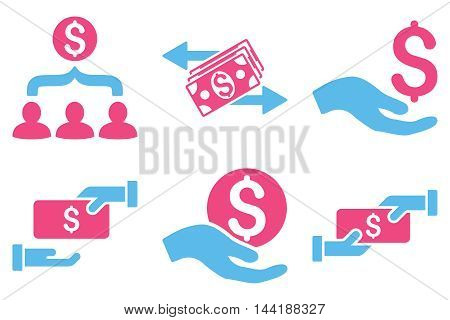Payment vector icons. Pictogram style is bicolor pink and blue flat icons with rounded angles on a white background.