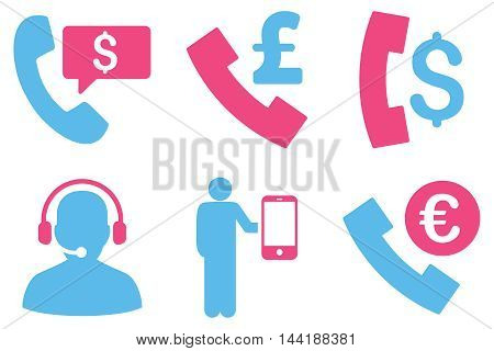 Phone Order vector icons. Pictogram style is bicolor pink and blue flat icons with rounded angles on a white background.
