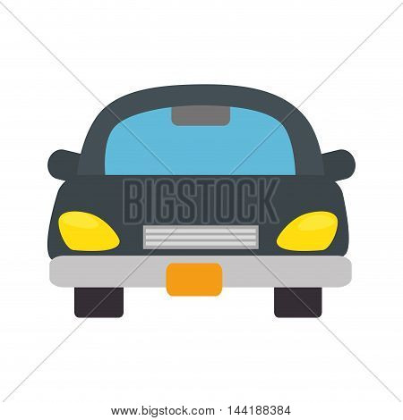 gray car vehicle transportation automobile front view vector illustration