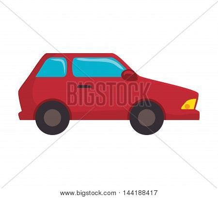 red car vehicle transportation automobile side view vector illustration