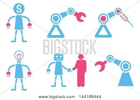 Robot vector icons. Pictogram style is bicolor pink and blue flat icons with rounded angles on a white background.