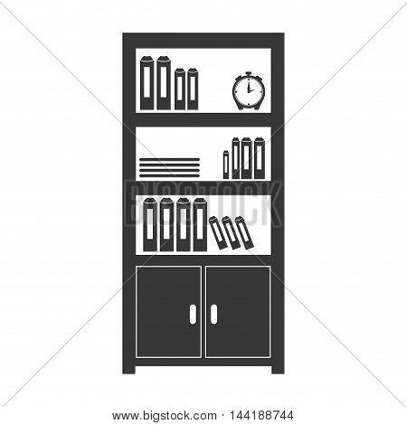 office bookshelf library books furniture object vector illustration