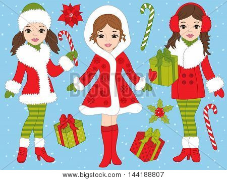 Vector Christmas girls set with candy sticks and gift boxes