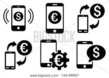 Mobile Banking vector icons. Pictogram style is black flat icons with rounded angles on a white background.