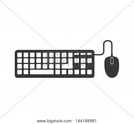 computer and technology keyboard and mouse devices vector illustration