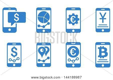 Mobile Sales Report vector icons. Pictogram style is cobalt flat icons with rounded angles on a white background.