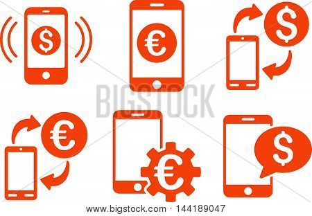 Mobile Banking vector icons. Pictogram style is orange flat icons with rounded angles on a white background.