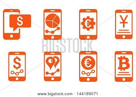 Mobile Sales Report vector icons. Pictogram style is orange flat icons with rounded angles on a white background.