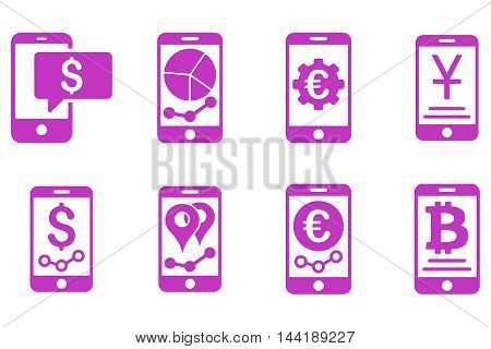 Mobile Sales Report vector icons. Pictogram style is violet flat icons with rounded angles on a white background.