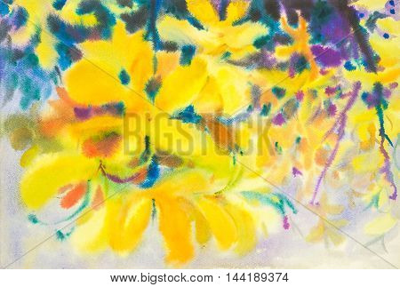 Abstract watercolor original painting yellow color of golden shower tree flowers and green leaves of blue color background
