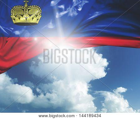 Liechtenstein flag on a beautiful day