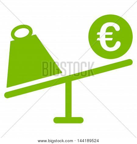 Euro Trade Swing icon. Vector style is flat iconic symbol with rounded angles, eco green color, white background.