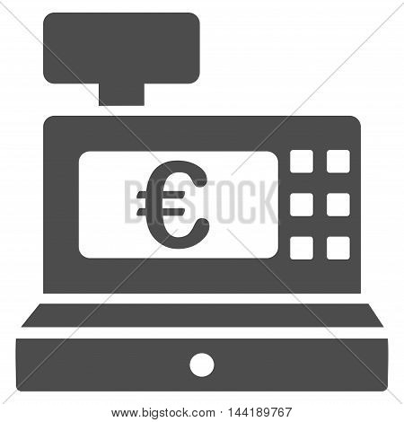 Euro Cashbox icon. Vector style is flat iconic symbol with rounded angles, gray color, white background.
