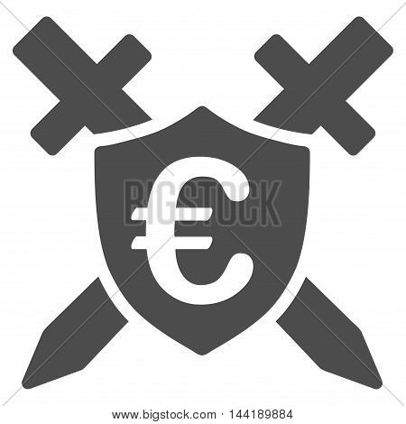 Euro Guard Shield icon. Vector style is flat iconic symbol with rounded angles, gray color, white background.