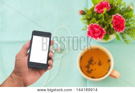 Man hands using smart phone white screen on blurred background