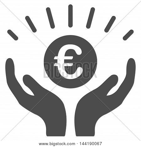 Euro Prosperity icon. Vector style is flat iconic symbol with rounded angles, gray color, white background.