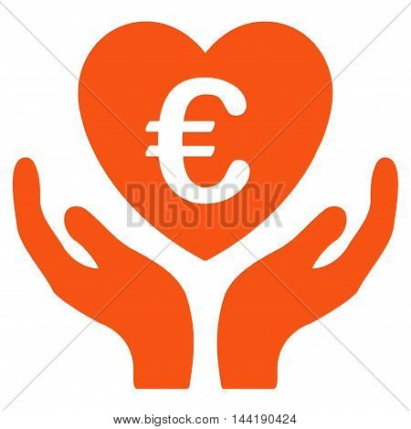 Euro Care Hands icon. Vector style is flat iconic symbol with rounded angles, orange color, white background.