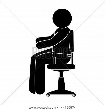 person working office and business place workplace chair furniture vector illustration