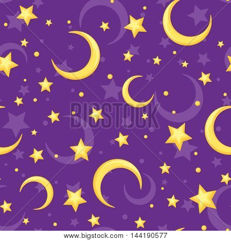 Vector seamless pattern with yellow stars and crescents on a purple background.
