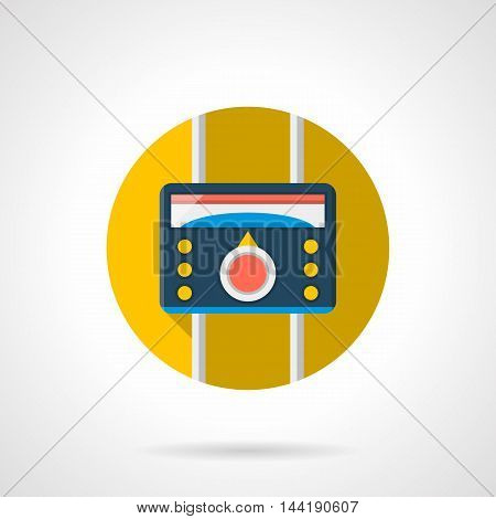 Climate control technology. Device for temperature regulation for heating system. Warm floor theme. Colored round flat design vector icon.