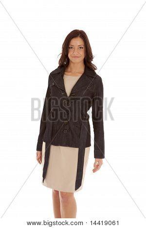 Woman Black Top Tan Dress Standing