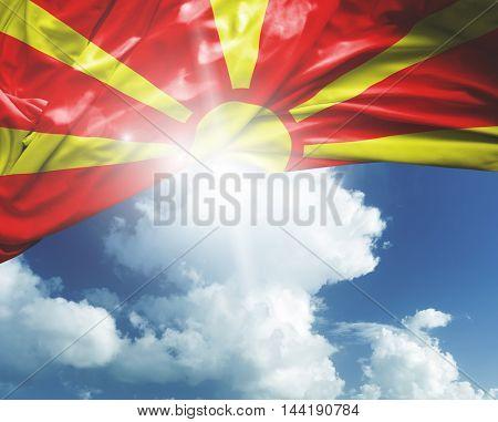 Macedonia flag on a beautiful day