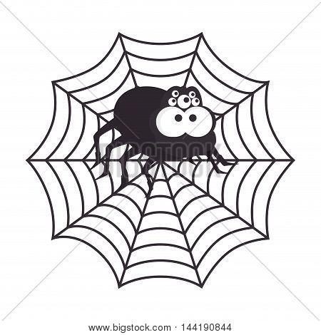 Spyder in cobweb arachnida animal halloween cartoon vector illustration