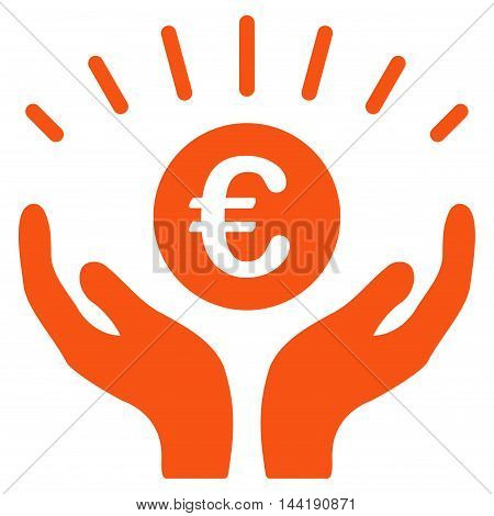 Euro Prosperity icon. Vector style is flat iconic symbol with rounded angles, orange color, white background.