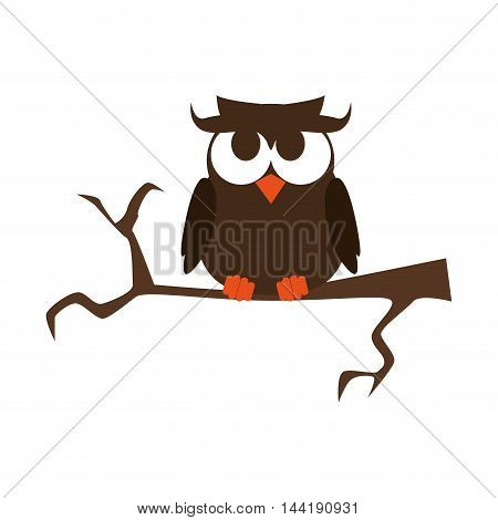 owl on a branch happy halloween season vector illustration