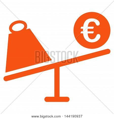 Euro Trade Swing icon. Vector style is flat iconic symbol with rounded angles, orange color, white background.