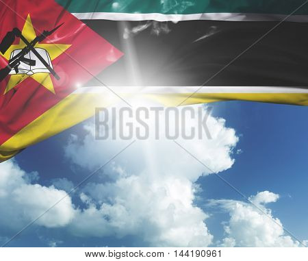 Mozambique flag on a beautiful day