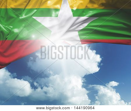 Myanmar flag on a beautiful day
