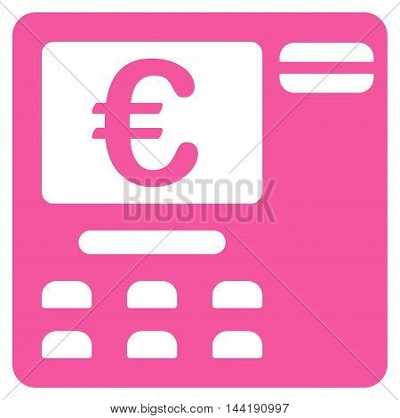 Euro Atm icon. Vector style is flat iconic symbol with rounded angles, pink color, white background.