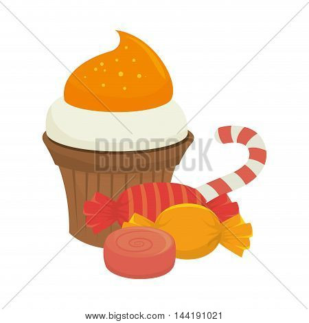 sweet sugar candies food snack caramel stick vector illustration