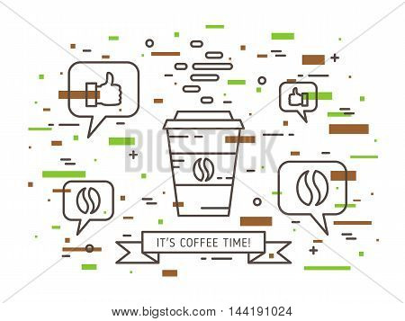Coffee Time Linear Vector Illustration
