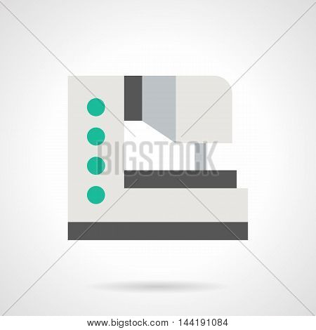 Electronic sewing machine for embroidery. White equipment with green buttons. Tailoring and garment decoration, manufacture of womens dress. Flat color style vector icon.