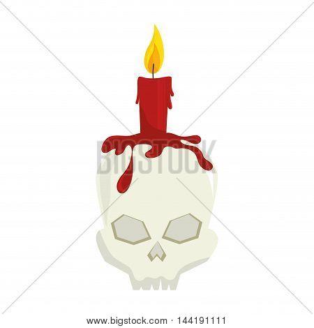 skull candle halloween season horror and fear decoration vector illustration