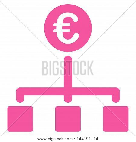 Euro Cash Flow icon. Vector style is flat iconic symbol with rounded angles, pink color, white background.