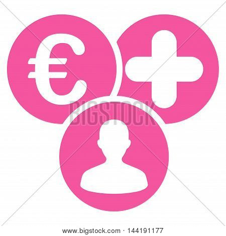 Euro Medical Expences icon. Vector style is flat iconic symbol with rounded angles, pink color, white background.