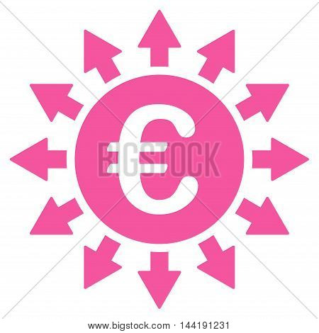 Euro Payments icon. Vector style is flat iconic symbol with rounded angles, pink color, white background.