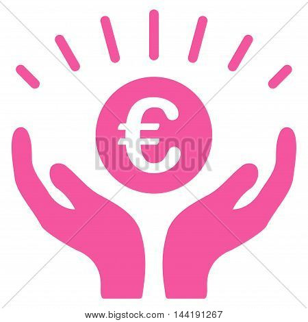 Euro Prosperity icon. Vector style is flat iconic symbol with rounded angles, pink color, white background.