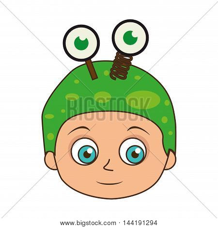 cute kid in a green alien costume halloween season vector illustration