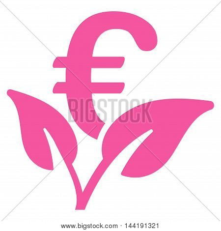 Euro Startup Sprout icon. Vector style is flat iconic symbol with rounded angles, pink color, white background.