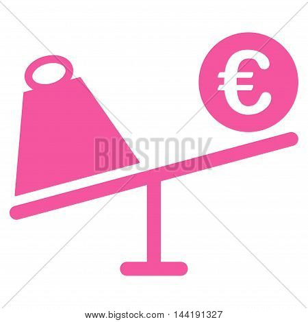 Euro Trade Swing icon. Vector style is flat iconic symbol with rounded angles, pink color, white background.